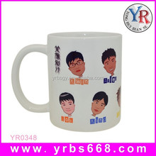 single-wall custom logo printed ceramic sublimation travel gift mug with silicon lid and sleeve