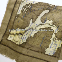 Woman wear accessories acrylic shawl vintage map design made by Japanese brand