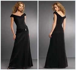 Off the Shoulder Full Length Chiffon Black Evening Dress HA-159