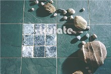 Recycled natural green slate stone floor tiles