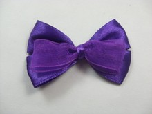 MSD beautiful purple polyester&organza ribbon hair bow for girl/kids