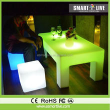 remote controller led cube chair lamp/PE material night club led cube chair