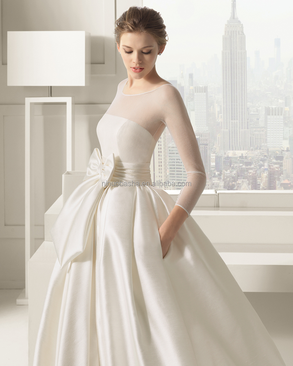 2015 Chic Ivory Ball Gown Wedding Dress Long Sleeve Sheer Covered ...