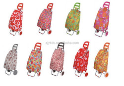 600D waterproof customized foldable shopping trolley bag with 2 wheels