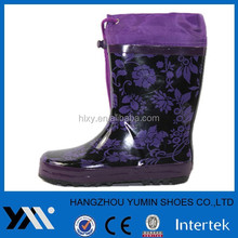 Dark boots with flower printing