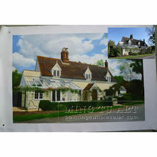 Handmade realistic Scenery House photo to oil painting