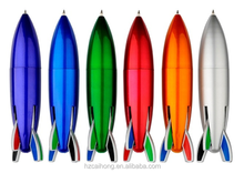 Lovely design colorful plastic rocket shaped multi colored automatic promotion ball pen CH-6676