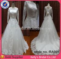 Elegant long sleeve lace wedding gowns FreeCrystal beaded wedding belt