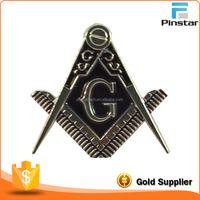 Custom cut-out Car emblem in Silver & Blue Metal Freemason Masonic Badge