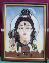 Lord Shanker, Gem Stone Painting, Art of Jaipur, India.