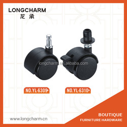 threaded plastic wheels with decorative cap chair locking casters furniture wheel YL-6310