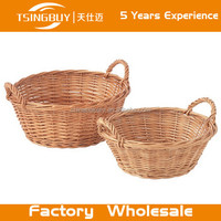Hot factory 100% pure handcraft natural rattan wicker bread basket/handmade willow storge baskets/rear bike basket