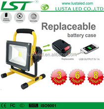 Replaceable Battery Powered Cordless Portable 12V 24V Dimmable USB Rechargeable LED Work Light
