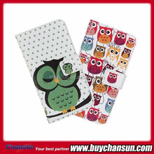2014 Most popular cute owl pattern for Motorola Moto X leather cover accept paypal
