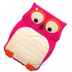 Custom multicolor OWL 3D silicone case for ipad mini, silicone protective case