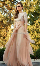 2015 Elegant Champagne Women Formal Evenig Dresses Half Sleeve Sequins Chiffon A-Line Prom Party Gown