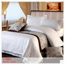 Hot sell satin percale bleached hotel bedding set, wholesale 200tc/250tc white cotton stripe hotel bed sheet