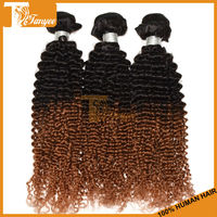3pcs/set 12 Inch Grade 6A 100% Unprocessed Brazilian Virgin Afro Kinky Curly Hair Weaves Tone Color 1B/30# Ombre Hair Extentions