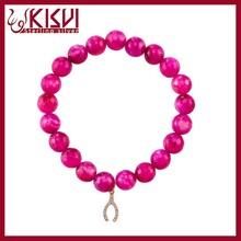 2015 Wholesale Newest DIY Fashion Jewelry Charm Bracelets, Plum Purple Acrylic Beads Bracelets with Silver Plated