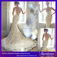 2015 See Through Backless V-neck Cap Sleeves Beaded Crystals Lace Applique Sexy Low Cut Mermaid Wedding Dresses Patterns