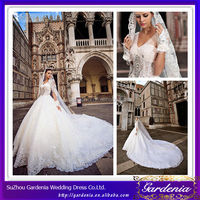 Luxurious and Beautiful Ball Gown V-neck Sheer Straps Heavily Lace Appliqued Organza Cathedral Train Wedding Ball Gowns (ZX739)