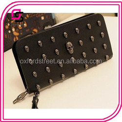 Wholesales Newest Fashion Leather Skull Wallet Clutch Bag