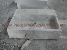 Carrara white marble wash basin, natural stone bathroom sink, sanitary ware made in Pakistan