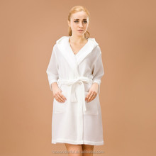 white hooded waffle bathrobe contain 65% cotton girl sexy image for women