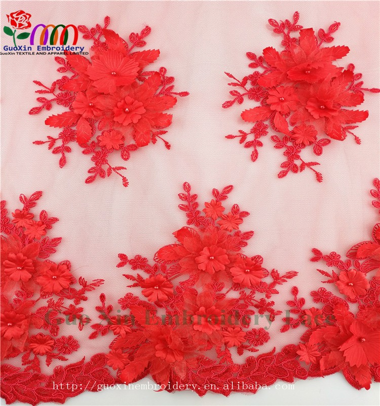 GUOXIN beautiful lace textile embroidery lace fabric for woman dress GX276 (3)