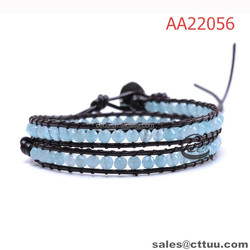OEM blue crystal beaded wrap bracelet 2 row bracelets bangles