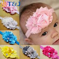 Newborn stain Rose Pearl Lace Flower Hair Accessories Headwear baby rhinestone headband Infant Children Baby Girls Headband