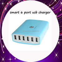 intelligent fast quick Quad USB AC wall travel usb charger home 5v 6 port 60w 12a multi port usb charger with CE certification