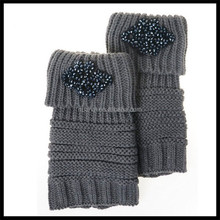 Fashion new trendy winter warm knit boot sock with jewelry on it