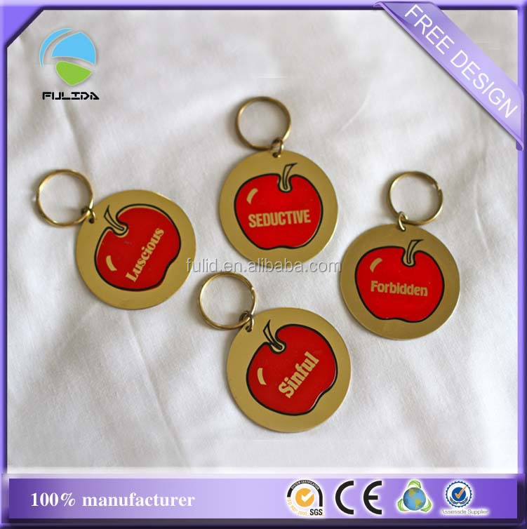 Circle metal thin aluminum sheet printing gold keychain for Thin aluminum sheets for crafts