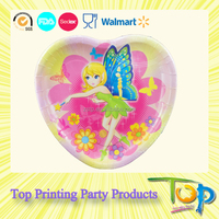 Heart Shape Color Paper Plate for Party Decoration from China Factory
