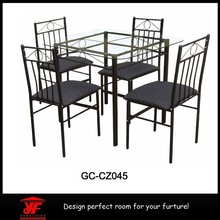 Unique used restaurant glass dinning table and chair