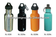 17oz BPA free Single Wall Stainless Steel Bike Sports Bottle with Big Stopper & Carabiner