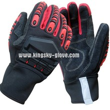 High Impact Cow Split Leather Palm Protective TPR Mechanic Glove