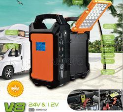 Newest Multi-function 12V/24V Car Battery Jump Starter Charger, 36000mAh Portable Car Jump Starter