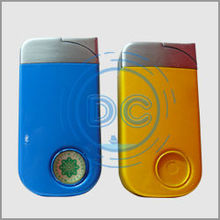 High quality yellow and blue color metal lighter/refillable metal lighter/metal cigarette lighter