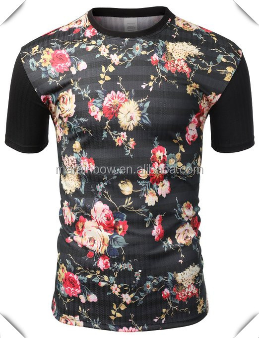 All over floral prints block t shirts heat transfer for Wholesale custom printed t shirts