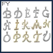 Gold Cuban Hip Hop Crystals Letter Initial Alphabet Pendant