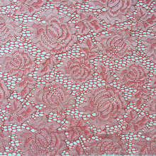 2015 Fashion African stretch Style Red Swiss rayon nylon Gold Lace Fabric for Bridal