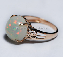 Fashion opal inlay rings,fire opal rings,synthetic opal ring