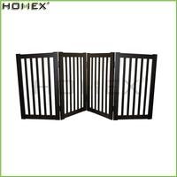 Dark Espresso Wooden 4 Panels Folding Dog Pet Gate/Homex_BSCI