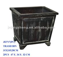 Distressed finish solid wood storage basket