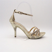 ornament bronze high heel shoes