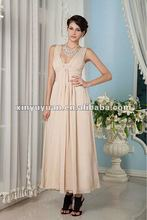 New Designer Sheer Straps A-line Tea Length Champagne Chiffon Evening Dresses Prom Gowns xyy04-007