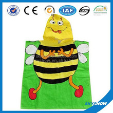 Wholesale kids hooded poncho towel,beach towel poncho