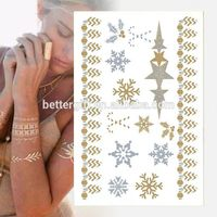 Laminated Body Tattoo Sticker Necklace Temporary Tattoo Stickers Gold Foil Body Jewelry Tattoos Type Body Tattoo